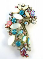 Vintage Large Rhinestone And Lucite Curved Brooch By Florenza.